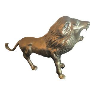 Vintage Brass Lion Statue