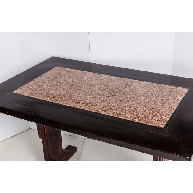 French Wooden Table With Marble Inlay - Image 6 of 6