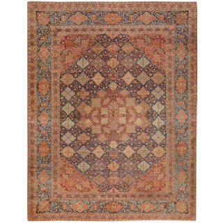 Exceptional Antique Persian Dabir Kashan Carpet