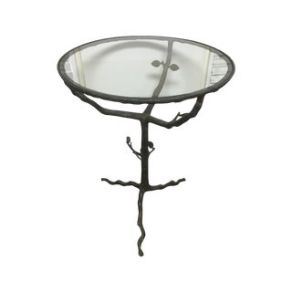 Faux Bois Metal and Glass Table by Arteriors