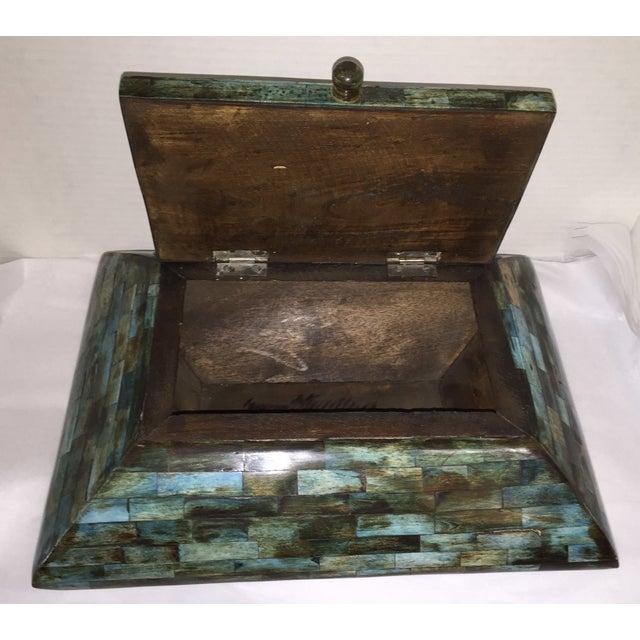 Rare Mid-Century Large Aqua Blue Tessellated Wood Box - Image 3 of 9