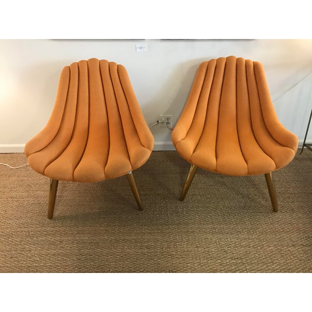 Jonathan Adler Brigette Orange Lounge Chairs - A Pair - Image 2 of 4