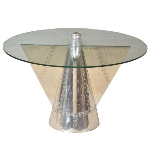 Aviator Riveted Metal & Glass Coffee Table - Image 1 of 4