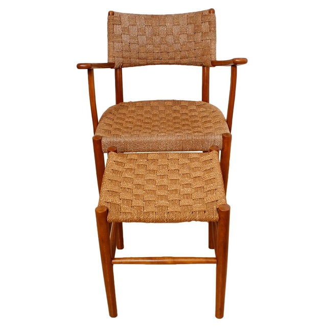 Fritz Hansen 1930's Woven Rope Chair & Ottoman - Image 4 of 6