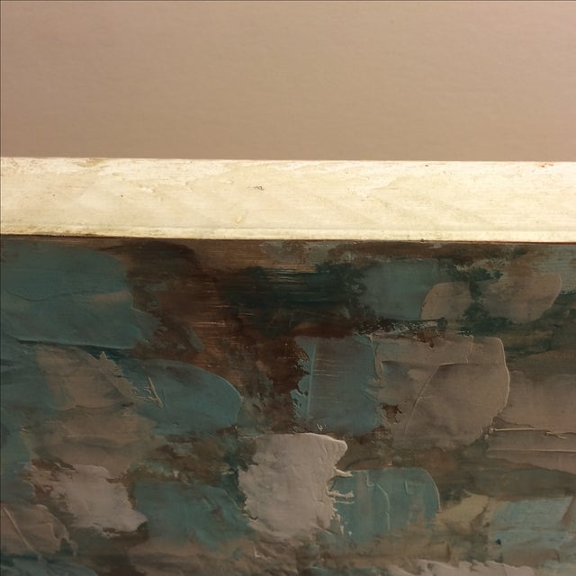 Raw Turquoise Acrylic & Plaster Abstract Painting - Image 7 of 9