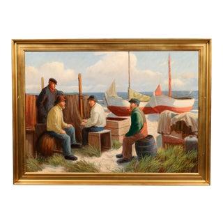 "Danish Oil Painting ""Sailors Resting"""
