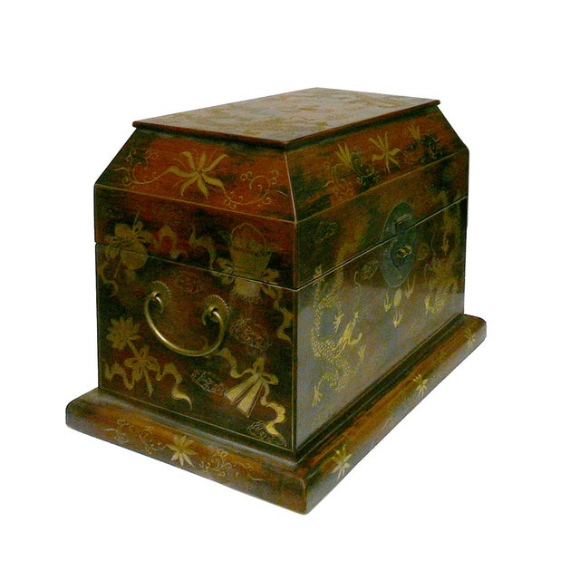 Image of Chinese Light Brown Lacquer Golden Dragons Box