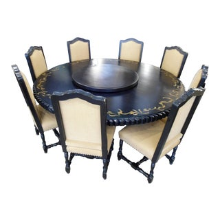 Custom Round Black Dining Set
