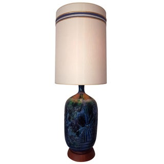 C.1960 Incised Ceramic and Teak Table Lamp
