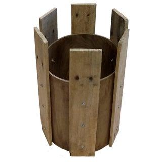 Hardwood Plank Cylinder Side Table Base