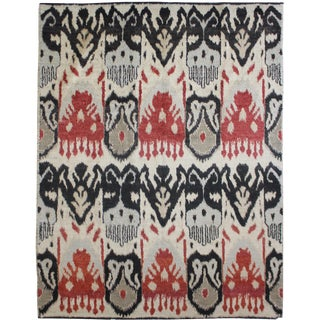 "Hand Knotted Ikat Rug - 10'4"" X 8'6"""