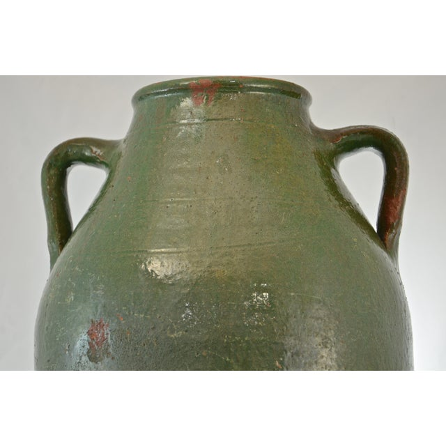 Turkish Oversize Dark Green Glazed Urn - Image 4 of 9