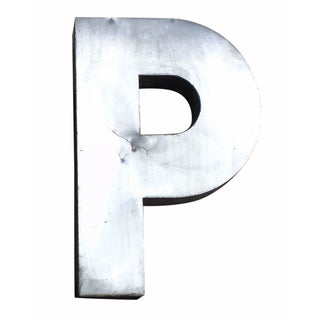 "Antique Industrial Stainless Steel Metal Letter ""P"""