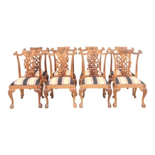 Queen Anne Style Dining Chairs, S/8
