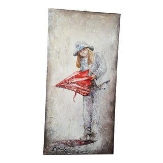 Fresco Style Stefan Tomsa Painting of Girl With Umbrella