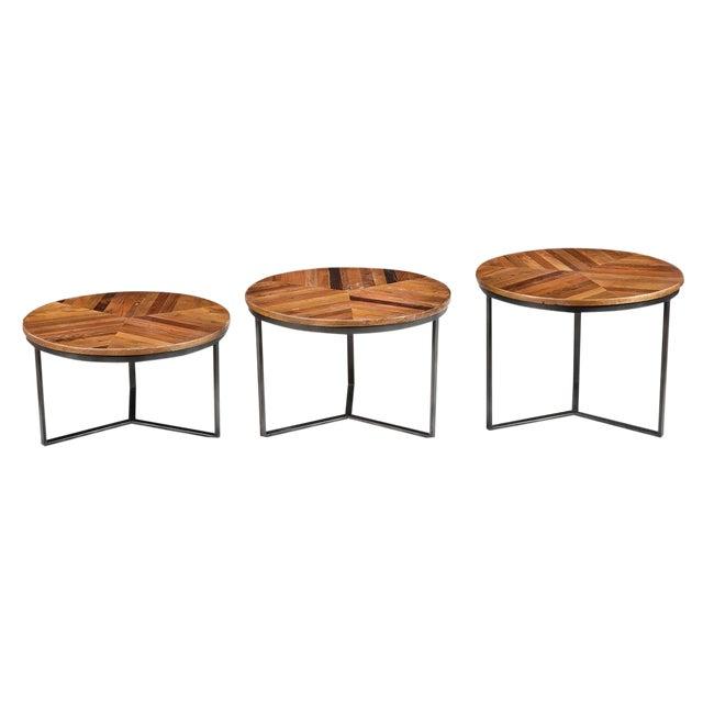 Iron & Wood Round Nesting Tables- Set of 3 - Image 1 of 2