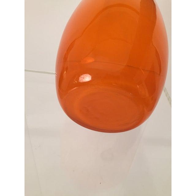 Orange Hand Blown Glass Vase - Image 7 of 8