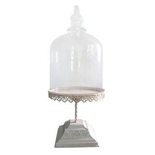 Glass Cloche on Off-White Pedestal