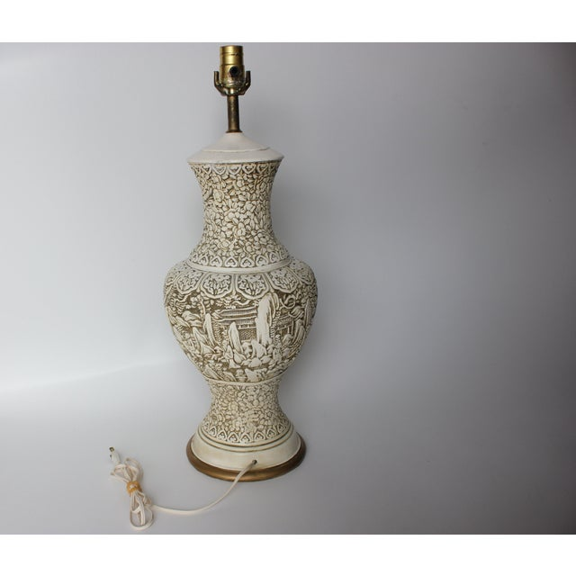 Plaster Relief Table Lamp with Floral Landscape - Image 7 of 7