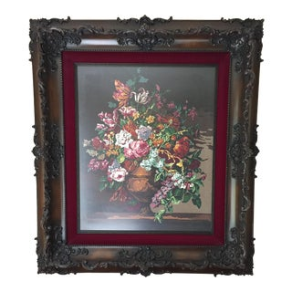 Large-Scale Needlepoint Floral in Frame