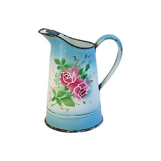 Early 1900 French Hand-Painted Rose Pitcher Vase