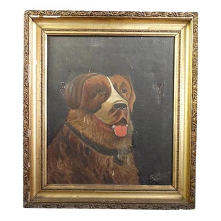 Antique Painting Dog Portrait