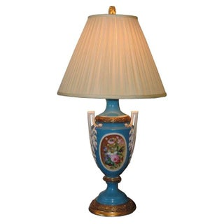 Antique Blue Parisian Floral Lamp