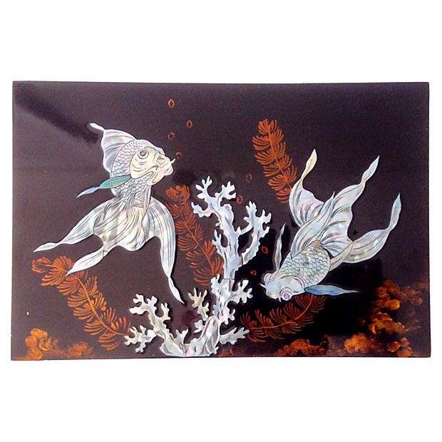 Vintage koi fish coral sea life wall hanging chairish for Koi fish lifespan