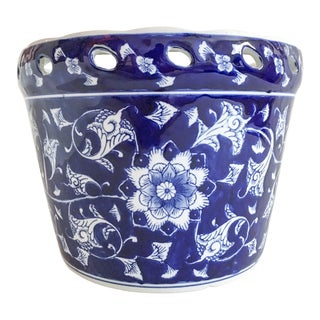Vintage Blue & White Large Pierced Planter