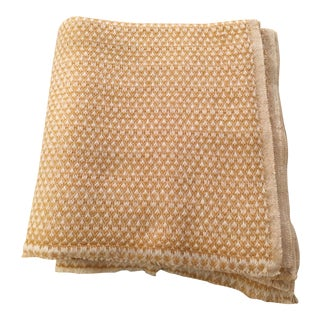 Large Mustard Yellow Cashmere Blend Blanket