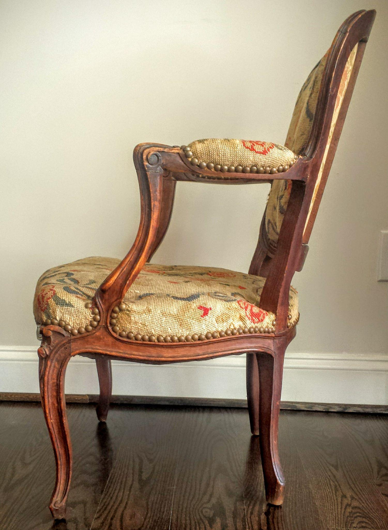 Antique French Louis XV Style Needlepoint Chair   Image 4 Of 11