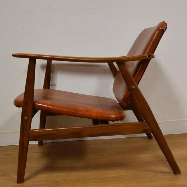 Brown Vinyl Lounge Chair - Image 9 of 9