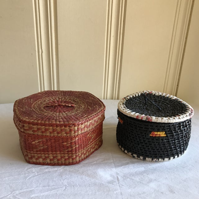 Natural Woven Boho Basket Boxes - A Pair - Image 4 of 10
