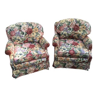 Designer Floral Swivel Base Arm Chairs - A Pair