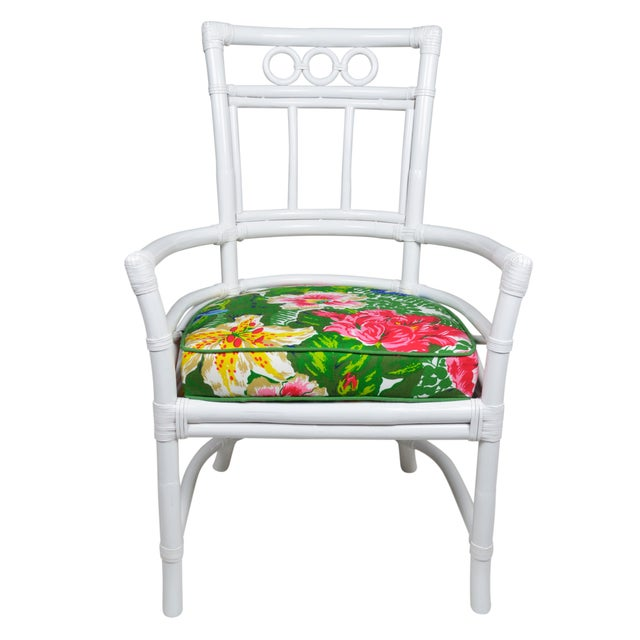 Image of Ficks Reed Colony White Rattan Armchairs - a Pair