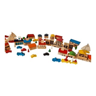 Vintage Toy City Building Blocks - 148 Pieces