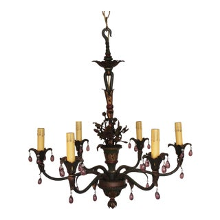 1930s French Painted Chandelier
