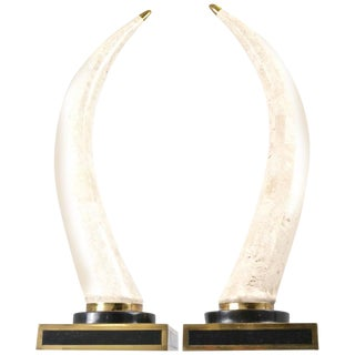 Pair of Maitland Smith Marble Tusks