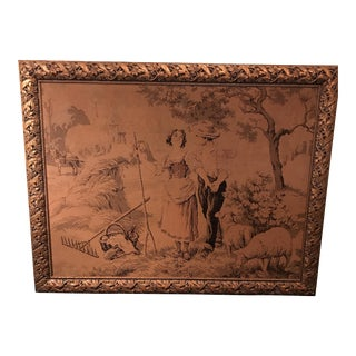 Antique Framed French Tapestry