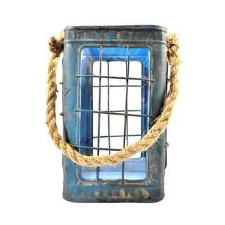 Rustic Tin Glass Candle Lantern With Rope Handle