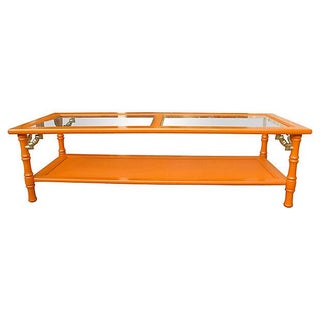 Orange 1960s Bamboo-Style Coffee Table