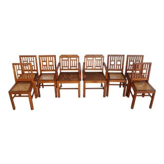 Antique Red Oak American Craftsman Dining Chairs- Eight