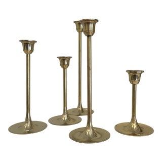 Varied Sizes Brass Candlesticks - Set of 5