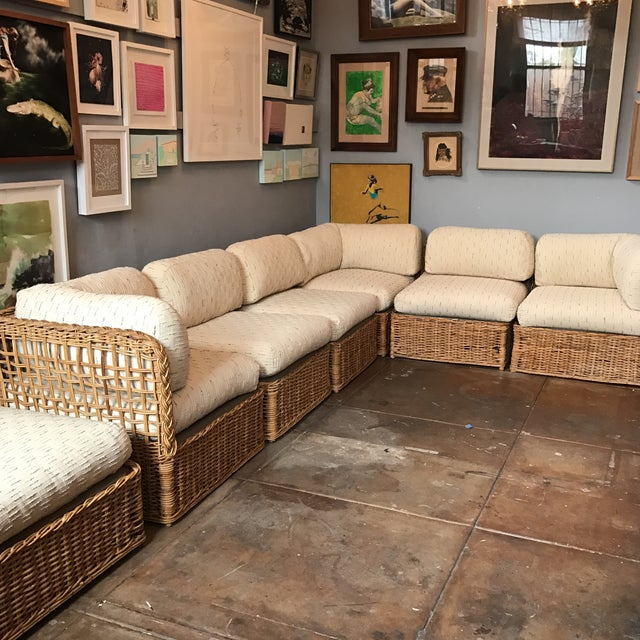Vintage Rattan Sectional Sofa Set - Image 5 of 11