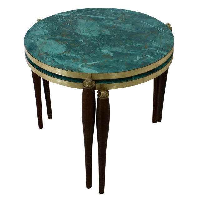 Faux Aqua Marble Stacking Tables - a Pair - Image 1 of 6