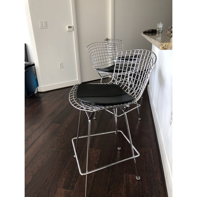 Bertoia Counter Stools With Seat Pads - Set of 3 - Image 5 of 11