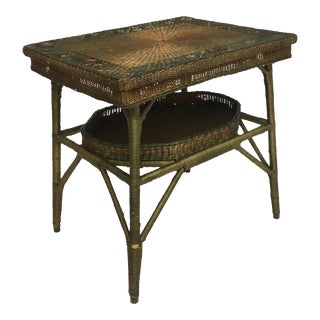Deco Arts and Crafts Painted Wicker Library Table