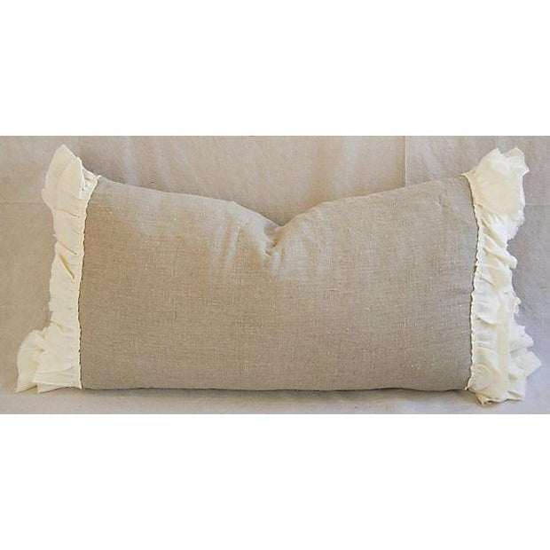 Image of Large Custom French Linen & Ruffle Body Pillow