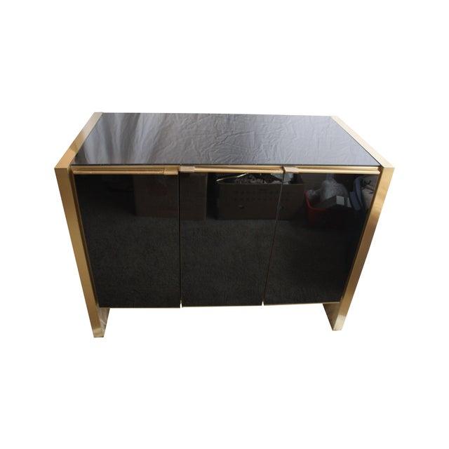 Image of Maison Jansen Style Brass & Black Glass Cabinet