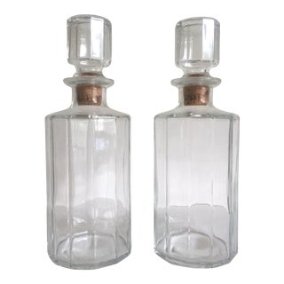 Vintage Mid-Century Modern Bormioli Faceted Glass Italian Decanter Bottles - a Pair